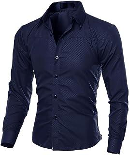 5aebca2813e zhxinashu Long Sleeve Slim Fit Solid Color Dress Shirt for Men (M-5XL)