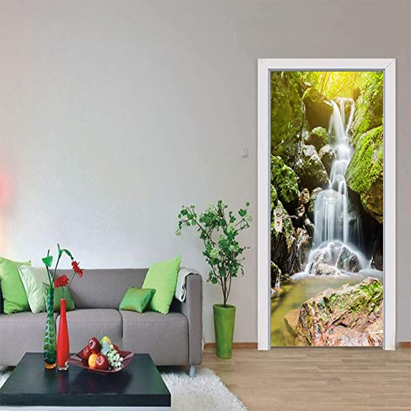 MISSSIXTY 3D Mountain Waterfalls Door Wall Mural Wallpaper Stickers Vinyl Removable Decals For Home Decoration 30 3 X 78 7