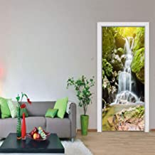"""MISSSIXTY 3D Mountain Waterfalls Door Wall Mural Wallpaper Stickers Vinyl Removable Decals for Home Decoration 30.3"""" x 78.7"""
