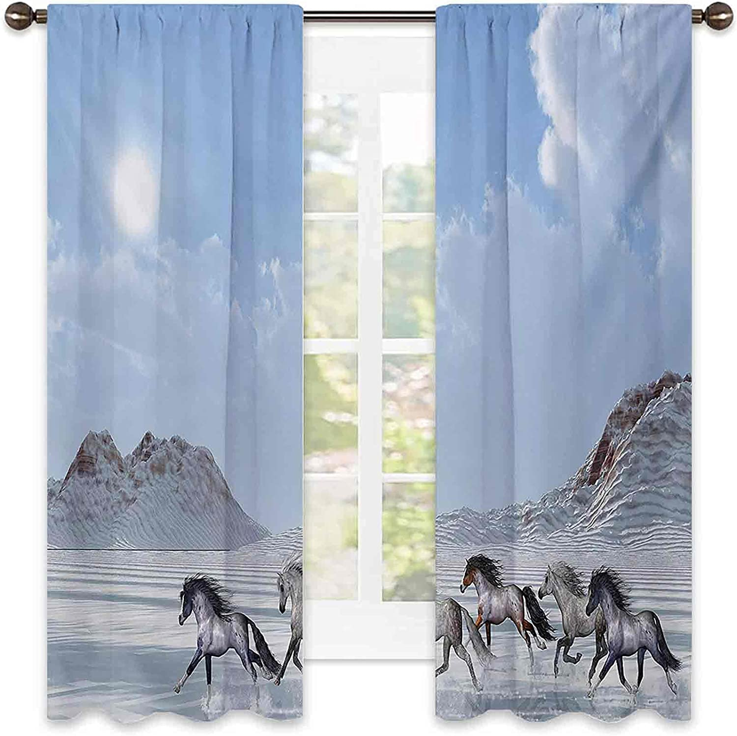 Horses Bedroom Rod Max 66% OFF Pocket Blackout Wild Herd Curtains of Tulsa Mall Noble