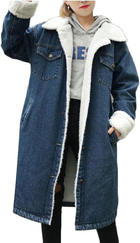 Desolateness Women's Lapel Buttons Mid Long Sherpa Lined Denim Jean Coats Jackets