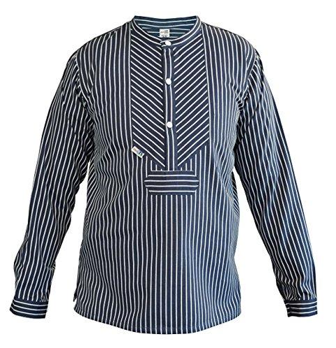 modAS original traditionelles Finkenwerder Fischerhemd für Damen und Herren, Farbe:breiter Streifen, Größe:Herren 70