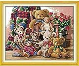 Punto de cruz Kit Bordados para niños y adultos Oso de navidad,16 x 20 pulgadas DIY costura punto de cruz set decoración de pared principiante(11CT)