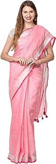 Black Orange Women's Linen Saree With Blouse Piece (BO.LSR.PINK008_Pink)