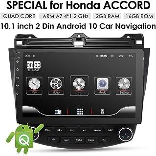 XXRUG Sistema de navegación GPS para el Enlace Honda Accord 7 2003-2007 10.1 Pulgadas 2 + 16GB Android 10 Unidad Car Audio Cabeza A/C Control de 1080P Espejo de vídeo de Bluetooth