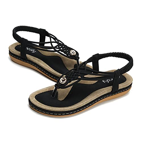b168fc5769acc9 Socofy Women s Flat Sandals Summer Clip Toe Flip Flops Thongs Bohemian  Style Beach Shoes with Wedge