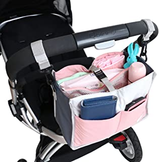 FakeFace Multi-funtional Nylon Zipper Travel Handbag Pouch / Baby Stroller Pram Pushchair Hanging Storage / Bag in Bag / Insert Organizer / Cosmetic Toiletry Bag Pocket / Makeup Bag / Tidy Bag Pink