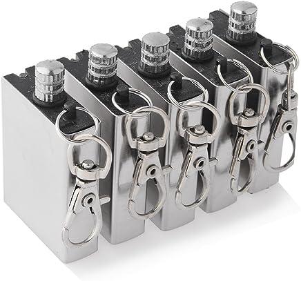 PeleusTech® 5 pcs Windproof Stainless Steel Metal Match Lighter Gas Oil Fire Starter Keychain for Camping Outdoor Lighter Mini Shape, Light Weight, Space-saving