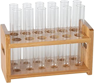 Lily's Home Bamboo Test Tube Vial Shot Glasses Holder Rack, Great as Pen Stand, Made from Bamboo with Built-in Handle, Rack Only, Glass Tubes NOT Included, 12 Tube Capacity (7/8
