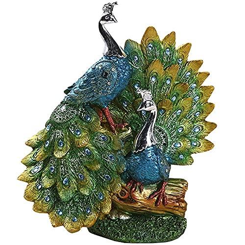 JIEZ Estatuas y estatuillas de Pavo Real para la decoración del hogar,Esculturas de Animales Decoración del hogar Moderno,Adorno de Lujo Regalo para la decoración del hogar,n