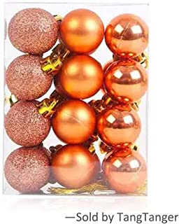 TangTanger Christmas Ball Assorted Pendant Shatterproof Ball Ornament Set Seasonal Holiday Wedding Party Decorations(24 pcs, 3 cm) (Orange)