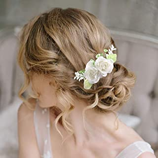 Fangsen Wedding Rose Flower Hair Comb Bridal Floral Hair Headpiece for Brides and Bridesmaids (White)