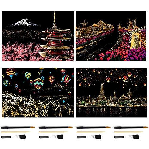 DIY Scenery View Kratzbrett-Mal-Set, Kratzbild, Papier für Erwachsene und Kinder, neuer Trend, 40,5 x 28,5 cm Dutch windmill + Fuji Mountain, Japan + Chiang Mai, Thailand + colorful hot air balloon