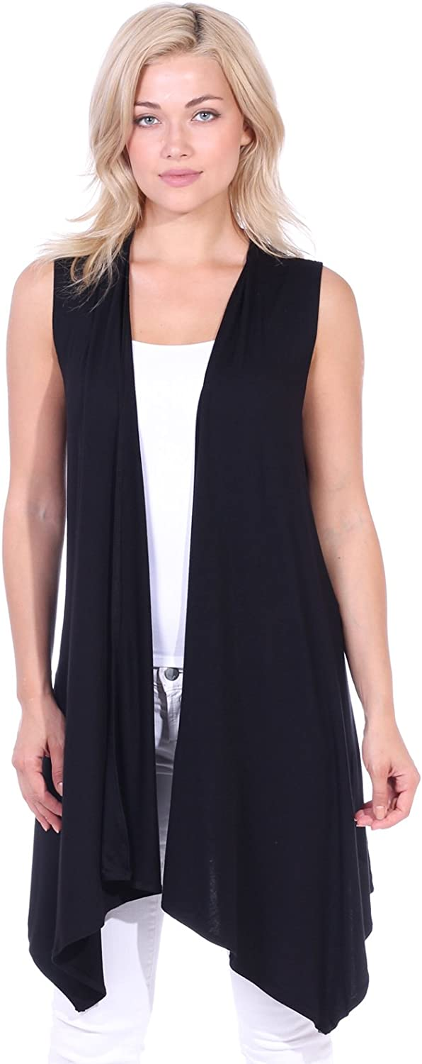 Popana Women's Casual Sleeveless Long Duster Cardigan Vest Plus Size Made in USA