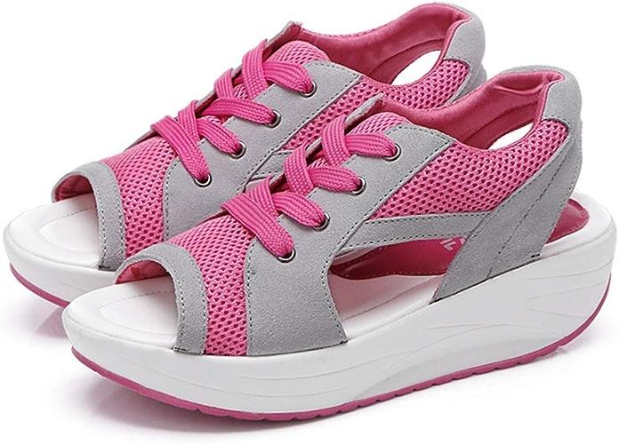JIAW été Nouvelle Mode Sandales Casual Poisson Bouche avec des Chaussures à Bascule, Sandales éponge Plate-Forme