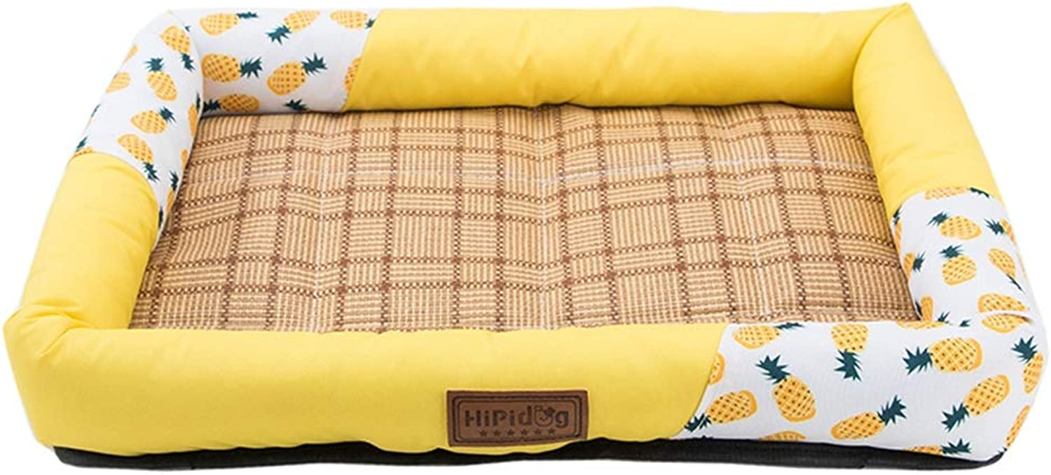LXLA  Washable Dog Bed Mat Summer Sleeping Mats Bedmat Pet Pad Cooling Kennel (Yellow) (Size   M 51×36×8cm)