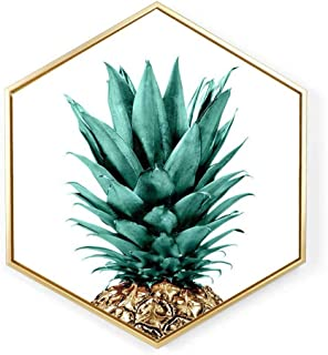 North Europe Hexagon Canvas Prints Artwork Wall Hanging Picture Pineapple Print Contemporary Wall Art for Home Office Decorations Wall Decor with PS Frame White 11.8