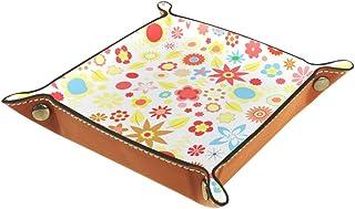 Boîte de rangement en cuir PU carré plateau pour les jeux de table de dés de jeux de clés, porte-monnaie, plateau de burea...