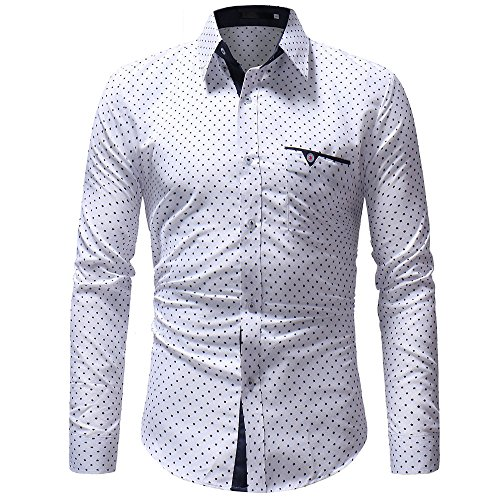 Find Bargain Men's Dress Shirt, Autumn Casual Long Sleeve Pocket Slim Fit Formal Polka Dot T-Shirt B...