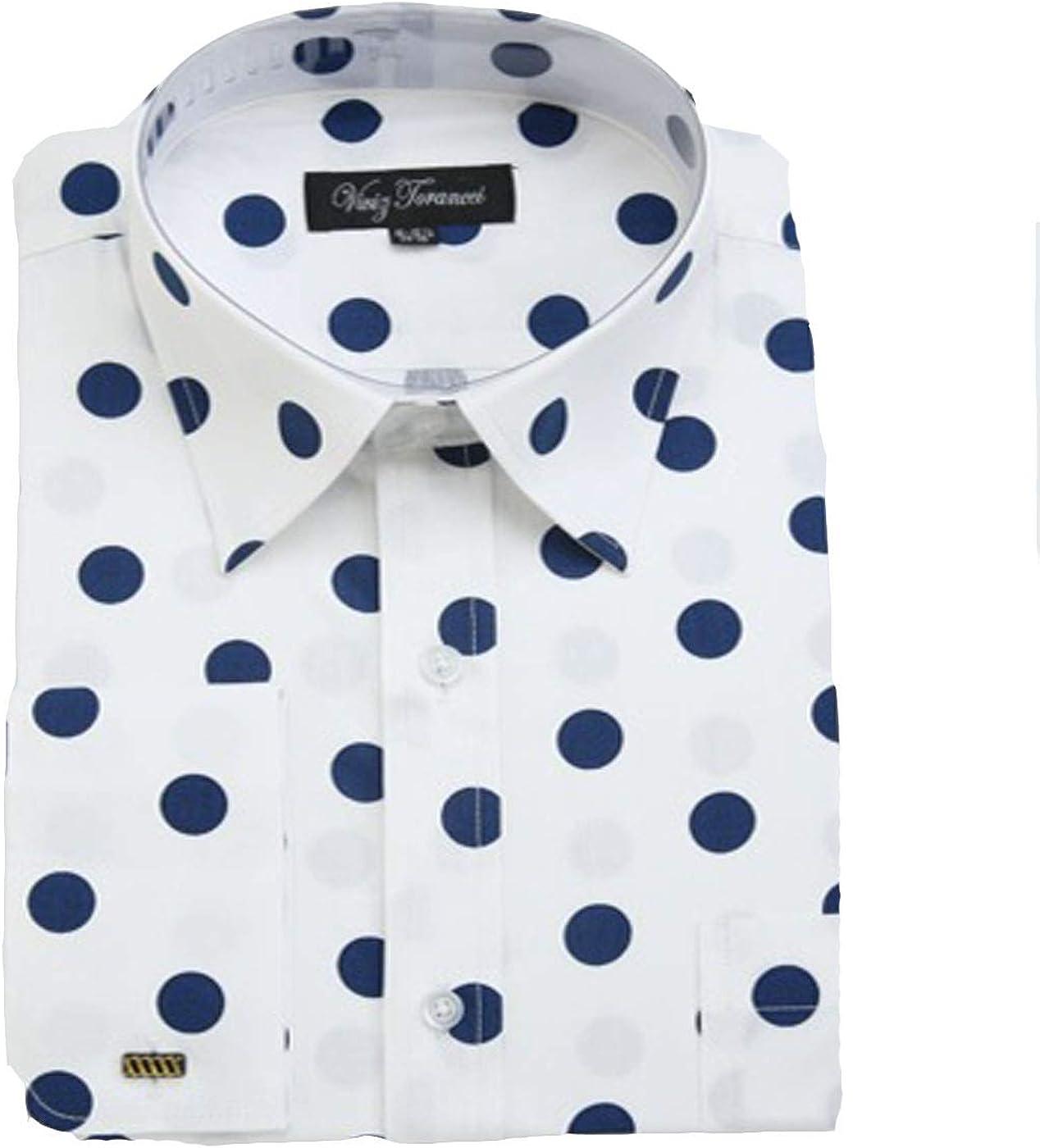 Viviz Forancci Men's Cotton Long Sleeve Polka Dot Dress Shirt AC401