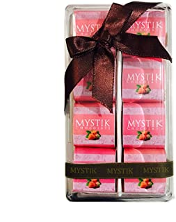 Mystik Premium - Strawberry Flavour in White Chocolate - Gift Wrap - Chocolate Box - 8 Pc