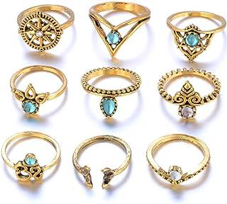 WGY 9 Stück Set Frauen Punk Vintage Finger Knuckle Ringe Joint Ring Schmuck Geschenk Silber Haufen