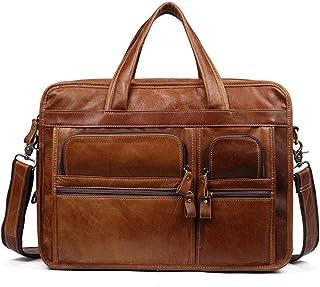 Casual Vintage Leather Men's Briefcase, Large Capacity Multi-Pocket Waterproof and Wear-Resistant Shoulder Messenger Bag (Color : Brown, Size : 36 * 15 * 28cm)