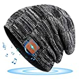 Bluetooth Hat, Rechargeable Unisex Bluetooth Beanie, Removable Wireless Earphone hat, mens gifts with Control Panel, Charges via USB, Unique & Delightful for Your Friends, birthday gifts for men women