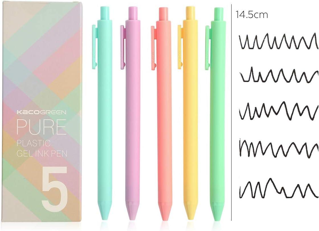 Retractable Gel Ink Pens 0.5mm Fine Point gel pens Ballpoint Pen Office School Stationery Supply 5-Packs Retro colour ink