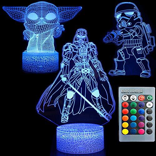 3D-illusion Star Wars nattlampa tre mönster 7 färgbyte dekor lampa skrivbord bord nattlampa för barn