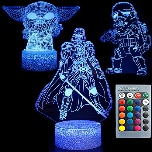 3D Illusion Star Wars Night Light Three Pattern 7 Cambio de color Lámpara de decoración Mesa de escritorio Lámpara de luz nocturna para niños para niños