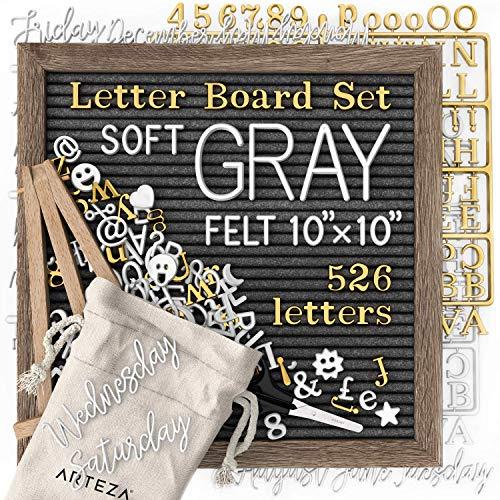 ARTEZA Graufilz Letterboard Set, 25.4 x 25.4cm, Buchstabentafel mit 526 Buchstaben, 164 Symbolen, 33 kursiven Wörtern, Holzständer, Schere und Aufbewahrungstasche, Stecktafel für Deko und Menüs
