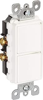 Leviton 5627-W 20 Amp, 120/277 Volt, Decora Single-Pole / Single-Pole AC Combination Switch, Commercial Grade, Grounding, White