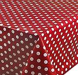 Wachstuch Tischdecke Abwaschbar Eckig 140 x 180 cm Punkte Rot