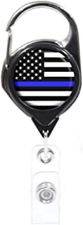 Thin Blue Line-American Flag ID Badge Holder, Black Retractable with Metal Carabiner and Back Clip | Great for Holding Key...
