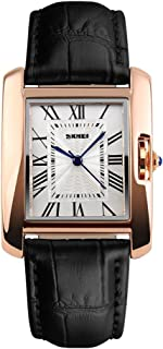 Womens Quartz Analog Roman Numeral Watch Business Casual Fashion Wristwatch Rose Gold Case, 30M Water Resistant, PU Leather Band