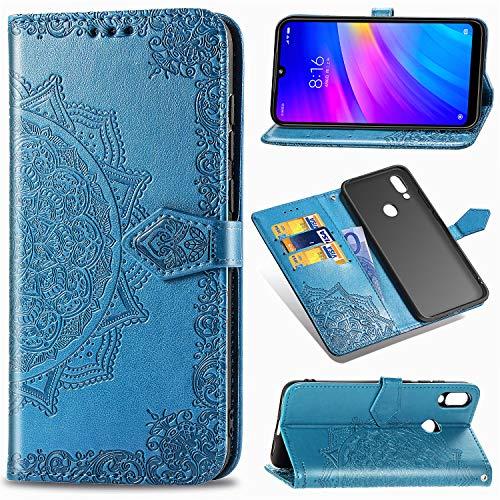 Funda Libro para Xiaomi Redmi 7, Carcasa con Tapa Flip Case Antigolpes Golpes Cartera PU Cuero Suave Soporte con Correa Cordel para Xiaomi Redmi 7 - Mandala Azul