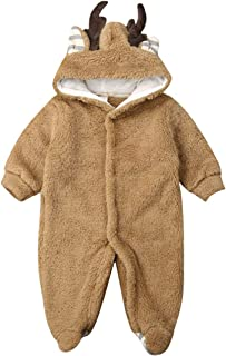 Newborn Infant Baby Boys Girls Christmas Deer Romper One Piece Jumpsuit with Hat Outfits Xmas 2 PCS Clothes Set