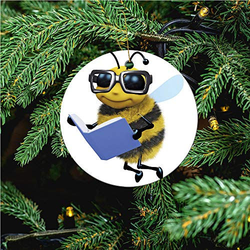 aosup 3D Bee Student/Christmas Ornaments 2020 Christmas Ceramic Pendant Personalized Creative Christmas Decorations Double Sided Christmas Tree Ornament №IS019336