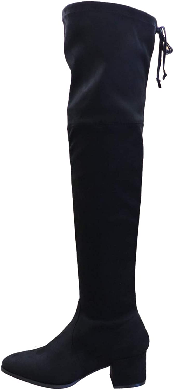 Wild Diva Lounge Catherine-12 Womens Over The Knee Round Toe Thigh High Boots Block Heel W/Zipper