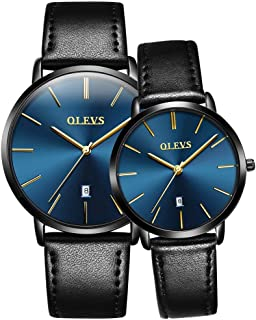 Valentine's Romantic Couple Watches His and Hers Ultrathin Classic Quartz Analog Wrist Watches Gifts Set for Lovers Set of Two Two-Tone Matching Watches Surprise for Your Lover