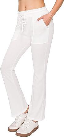Always Women's Ribbed Wide Leg Flare Palazzo - High Waist Stretch Boot Cut Bell Bottom Rib Pants