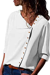 AKDSteel Women Fashion Button Irregular Skew Collar Shirt Long Sleeve Tops Solid Color Shirt
