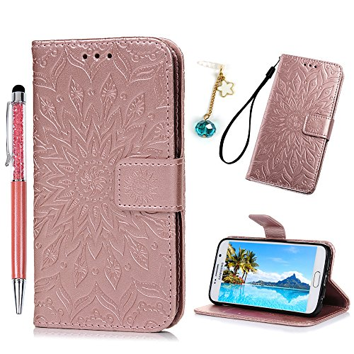 Coque Samsung Galaxy S6 Etui Protecteur en Cuir PU avec TPU Silicone Housse avec Stand Support et Carte de Crédit Slot Pour Samsung Galaxy S6 + Accessoires Exquis -- Or rose