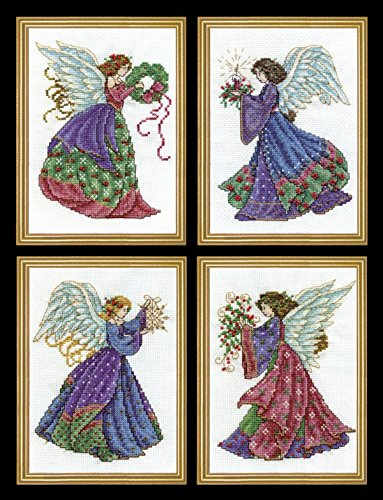 Design Works - Christmas Angels 5985-1 Counted Cross Stitch Kit with 4 Pictures, 5 by 7 inches Each, with 4 Gift Cards