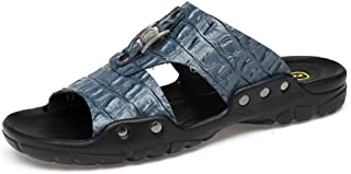 Men's Shoes-Men's Slippers New Casual Breathable Soft Bottom Anti - Skid Cow Leather Large Size Beach Sandals High Quality (Color : Blue, Size : 50 EU)