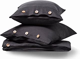 meadow park Stone Washed Linen Duvet Cover Set 3 Pieces, Queen Size 90 inches x 94 inches, Shams 20 inches x 26 inches, Coconut Shell Button Closure, Corner Ties, Super Soft, Dark Grey Color