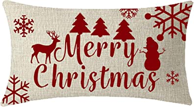 NIDITW Nice Christmas Birthday Gift Merry Christmas Reindeer Snowman Tree Snowflakes Lumbar Waist Beige Cotton Linen Throw Pillow case Cushion Cover Sofa Decorative Long Oblong 12x20 Inches