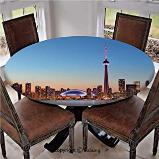Elastic Edged Polyester Fitted Table Cover,Canadian Skyline Toronto City with Lake Panorama at Evening Urban Scenery Decorative,Fits up 56