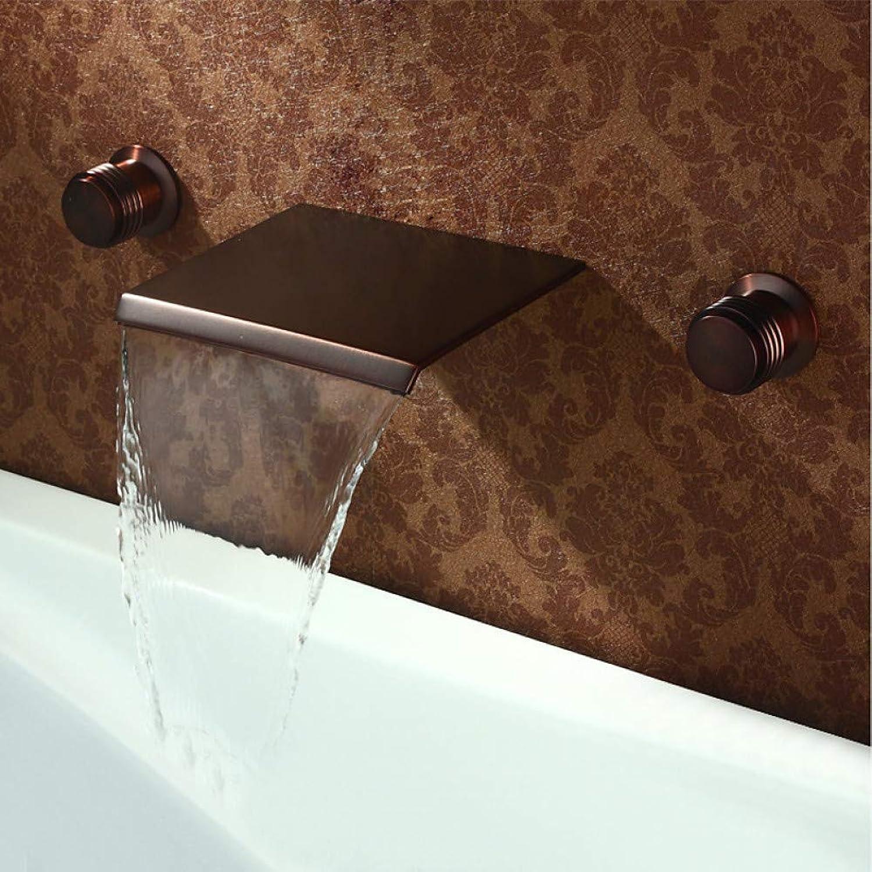 XHCP Waschtischarmatur Waschbecken Wasserhahn - Wasserfall l eingerieben Bronze verbreitet Zwei Griffe DREI Lcher Bad Wasserhhne Messing